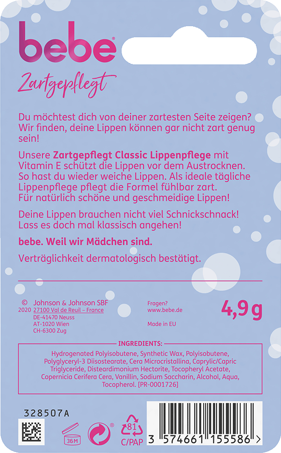bebe Lippenpflege - Zartgepflegt Classic Lippenpflegestift - Schuetzt Lippen vor dem Austrocknen